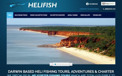 Screenshot of Home Page helifish.com.au - Darwin based Heli Fishing Tours, Adventures & Charter - captured Sept. 23, 2014