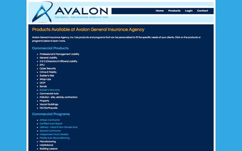 Screenshot of Products Page avaloninsgroup.com - Products Available at Avalon General Insurance Agency - captured Oct. 4, 2014