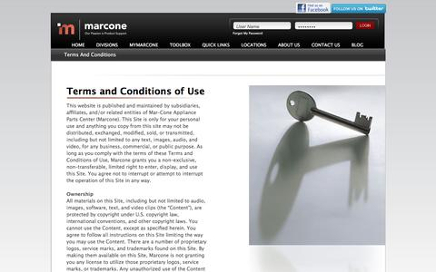 Screenshot of Terms Page marcone.com - Terms & Conditions - captured Jan. 23, 2016