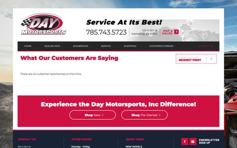 Screenshot of Testimonials Page daymotorsportsinc.com - Testimonials | Day Motorsports, Inc | WaKeeney Kansas - captured Nov. 6, 2018