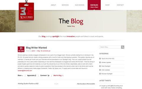 Screenshot of Blog 3encores.com - Blog Writer Wanted   - captured Oct. 9, 2014