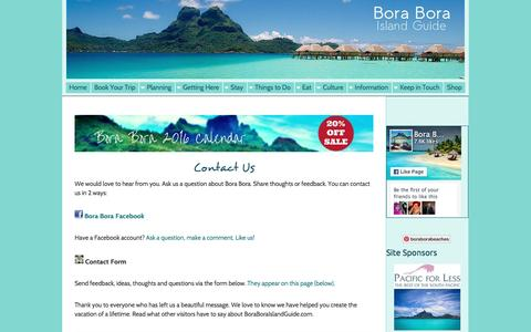 Screenshot of Contact Page FAQ Page boraboraislandguide.com - Contact Us - captured Feb. 15, 2016