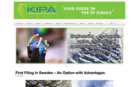 Screenshot of Home Page kipa.se - Krahbichler Intellectual Property Advisors | Your guide in the IP jungle - captured Oct. 6, 2014