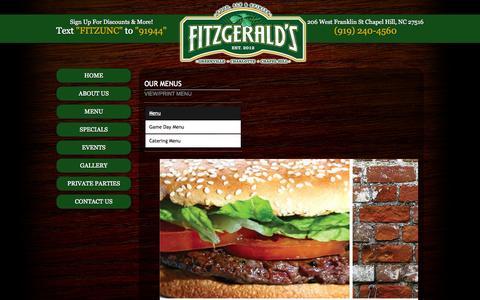 Screenshot of Menu Page fitzgeraldschapelhill.com - Fitzgerald's Irish Pub 206 West Franklin St Chapel Hill NC (919) 240-4560 - captured Oct. 6, 2014