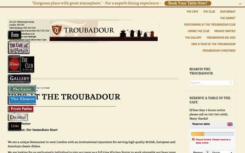 Screenshot of Jobs Page troubadour.co.uk - The Troubadour London |   Jobs - captured Nov. 4, 2014
