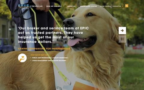 Screenshot of Home Page epicbrokers.com - HOME- EPIC INSURANCE - captured Feb. 24, 2016