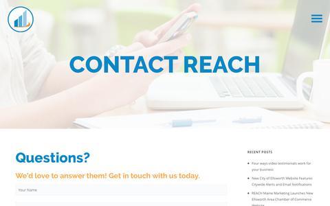 Screenshot of Contact Page reachmaine.com - Contact - REACH Maine Marketing - captured June 12, 2017