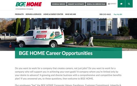 Screenshot of Jobs Page bgehome.com - Career Opportunities – BGE HOME - captured May 31, 2017