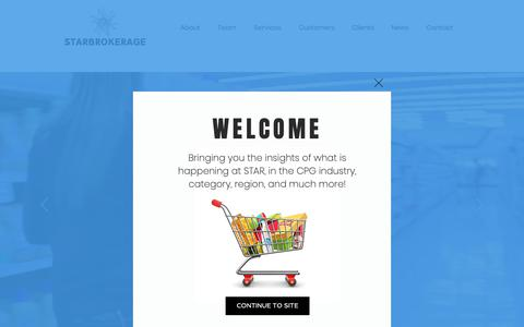 Screenshot of Home Page starbrokerage.com - CPG Food Broker | STAR Brokerage Sales and Marketing | Houston, TX, US - captured Oct. 18, 2018