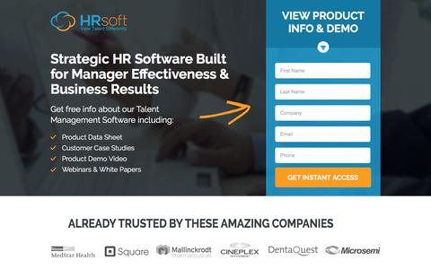 Screenshot of Landing Page hrsoft.com captured March 8, 2017