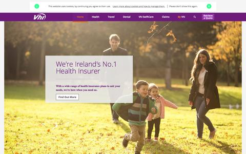 Screenshot of Home Page vhi.ie - Health Insurance, health insurance quote | Vhi Healthcare Ireland - captured Oct. 1, 2015