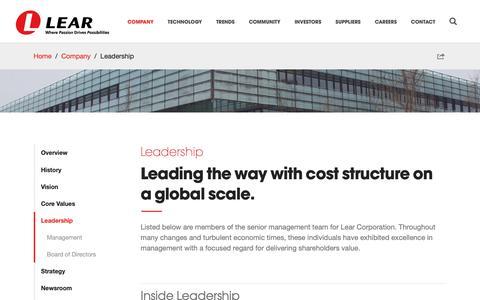 Screenshot of Team Page lear.com - Leadership   Company   Lear Corporation - captured Feb. 11, 2019