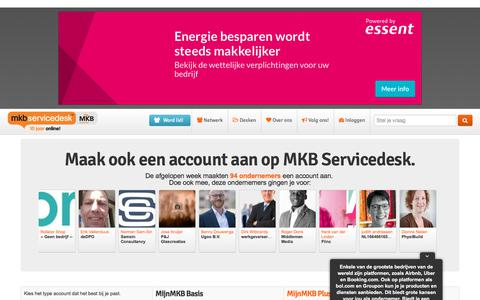 Screenshot of Signup Page mkbservicedesk.nl - MKB Servicedesk : Helpdesk voor ondernemers, starters en zzp'ers - captured July 26, 2018