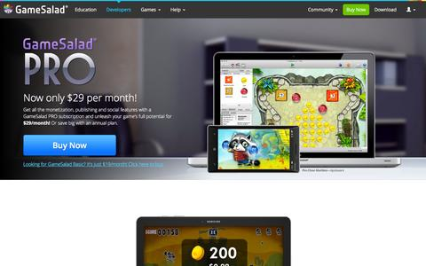 Screenshot of Developers Page gamesalad.com - GameSalad PRO - Create Games for iOS, Android & HTML5 - Drag & Drop - No Coding Required. Game creation for everyone - captured July 3, 2016