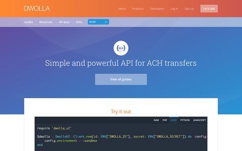 Screenshot of dwolla.com - Dwolla API Documentation   Dwolla API - captured March 15, 2017