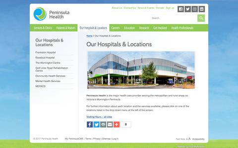 Screenshot of Locations Page peninsulahealth.org.au - Our Hospitals & Locations - Peninsula Health - captured July 18, 2017