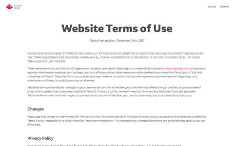 Website Terms of Use | Magic Leap