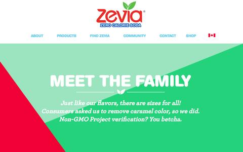 Screenshot of Products Page zevia.com - Zevia Sugar Free Soda: Healthy Diet Soda Alternative - Naturally Sweetened | Zevia Zero Calorie Soda - captured July 9, 2016