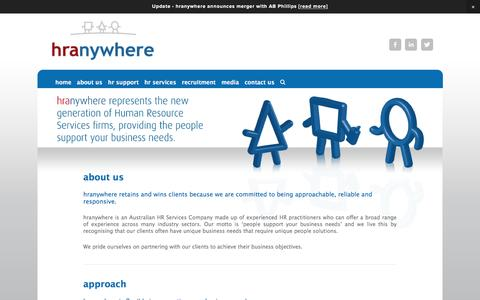 Screenshot of About Page hranywhere.com - about us — hranywhere - captured July 17, 2016