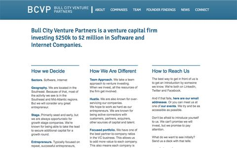 Screenshot of About Page bcvp.com - Bull City Venture Partners - About - captured Nov. 23, 2016