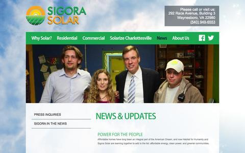 Screenshot of Press Page sigorasolar.com - News & Updates | Sigora Solar - captured Oct. 26, 2014