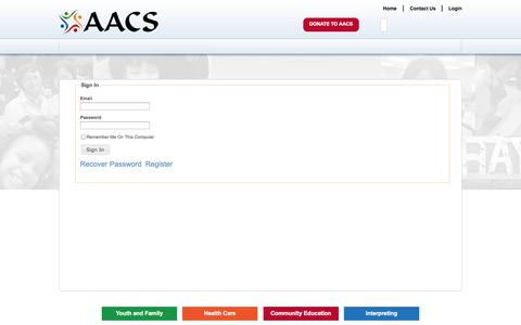 Screenshot of Login Page aacsohio.org - Sign In - aacs ohio - captured Sept. 24, 2014