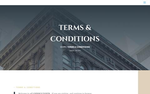 Screenshot of Terms Page 4t.com.au - TERMS & CONDITIONS | 4t CONSULTANTS - captured Oct. 20, 2018
