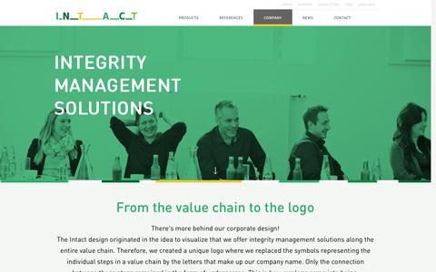 Screenshot of About Page intact-systems.com - INTACT | Integrity management solutions - captured Feb. 11, 2016