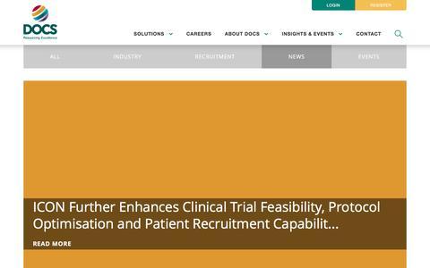 Screenshot of Press Page docsglobal.com - Insights & Events | DOCS - captured Nov. 7, 2016