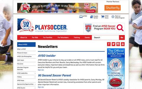 Screenshot of Signup Page ayso.org - Newsletters - captured Oct. 20, 2015