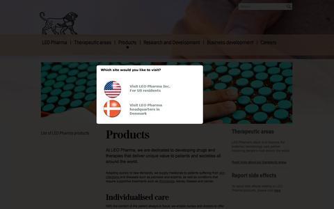 Screenshot of Products Page leo-pharma.com - LEO Pharma - Products | LEO Pharma - captured Oct. 1, 2014