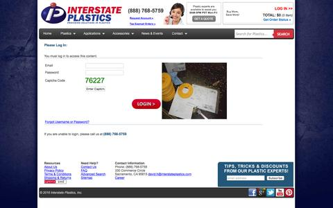 Screenshot of Login Page interstateplastics.com - InterstatePlastics - Login - captured Jan. 9, 2016