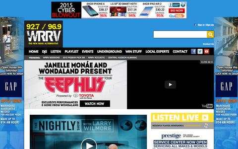 Screenshot of Home Page wrrv.com - 92.7 96.9 WRRV Radio – The Hudson Valley's New Rock Alternative – Poughkeepsie Rock Radio - captured Oct. 10, 2015