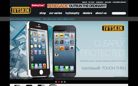 Screenshot of Home Page ivyskin.com - iPhone / iPad Extended BatteryCase Store -IvySkin BatteryCase ® - captured Oct. 6, 2014