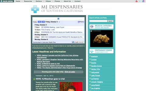 Screenshot of Trial Page mjdispensaries.com - Medical Marijuana News, Videos, Cannabis Photos and Recipes - MJDispensaries.com: trial - captured Oct. 3, 2014