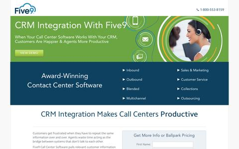 Screenshot of Landing Page five9.com - Contact Center Software | Five9 - captured Sept. 8, 2016