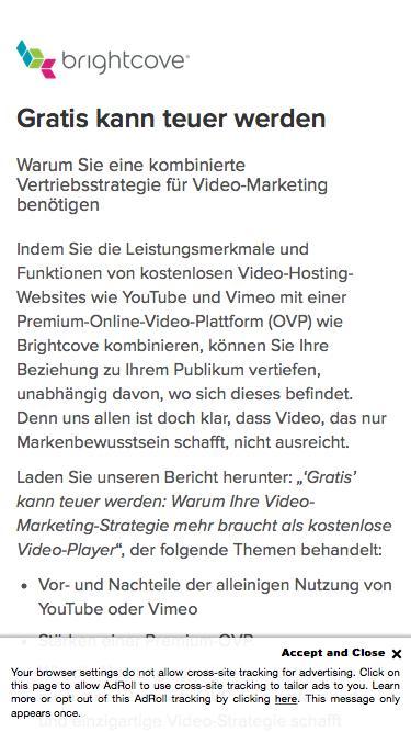 Brightcove | Gratis kann teuer werden. Warum Sie eine kombinierte Vertriebsstrategie für Video-Marketing benötigen.