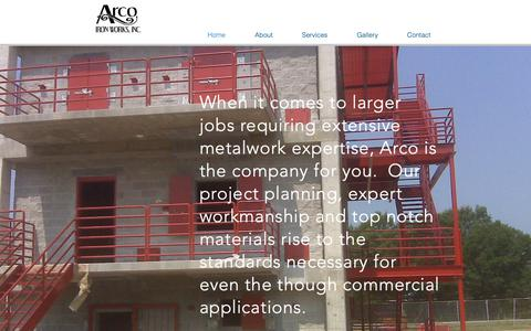Screenshot of Home Page arcoironworks.com - Welding services, miscellaneous metals, custom made metal fabrication - captured Oct. 4, 2018