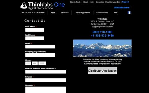 Screenshot of Contact Page thinklabs.com - Thinklabs ONE - Digital Stethoscope | Contact - captured Sept. 21, 2018