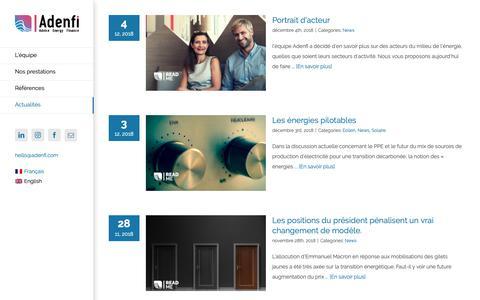 Screenshot of Blog adenfi.com - Actualités - Adenfi | Bureau Conseil du Financement de l'Énergie - captured Dec. 18, 2018