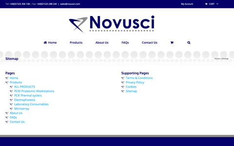 Screenshot of Site Map Page novusci.com - Website sitemap page - Website table of contents - Website Index - captured Oct. 20, 2018