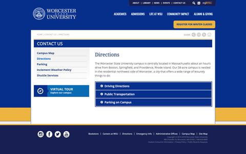 Screenshot of Maps & Directions Page worcester.edu - Directions | Worcester State University - captured Oct. 18, 2018
