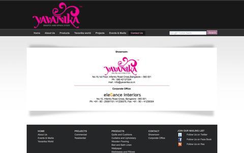 Screenshot of Contact Page yavanika.co.in - Yavanika Bangalore | Yavanika Home Furnishings Store | Contact Us - captured Sept. 30, 2014