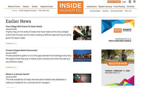 Screenshot of Press Page insidehighered.com - Inside Higher Ed's News - captured Jan. 8, 2020