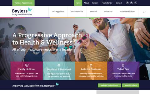 Screenshot of Home Page baylesshealthcare.com - Bayless Integrated Healthcare - captured Oct. 5, 2018