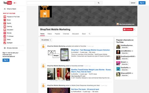 Screenshot of YouTube Page youtube.com - ShopText Mobile Marketing  - YouTube - captured Oct. 22, 2014