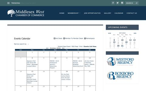 Screenshot of Contact Page mwcoc.com - Events Calendar - Middlesex West Chamber of Commerce - captured Oct. 18, 2018