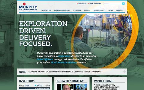 Screenshot of Home Page murphyoilcorp.com - Murphy Oil Corporation Global Exploration Offshore Onshore - captured Sept. 24, 2014
