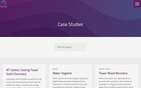 Screenshot of Case Studies Page clearwater.eu.com - Our Case Studies | Clearwater - captured Sept. 28, 2018