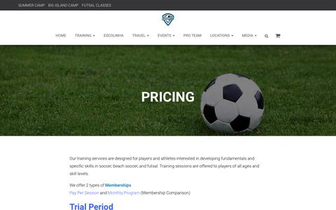 Screenshot of Pricing Page culturefc.com - PRICING – Culture FC Sports - captured July 22, 2018